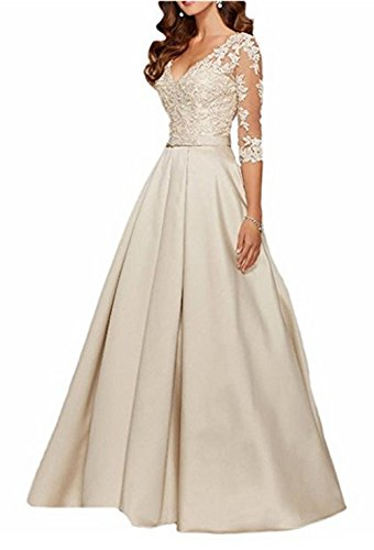Mother Of Ivory Sleeve Neck Evening Dress AngelaLove V 3 Bride Beaded The 4Long Applique Formal Gown Zw1Hw0qxY