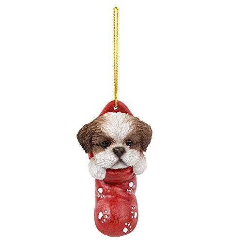 Pacific Giftware Shih Tzu in Holiday Sock Ornament Decorative Holiday Festive Christmas Hanging Ornament