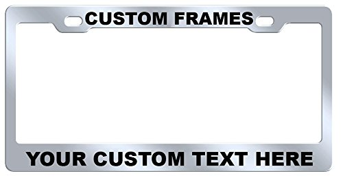 (GoPlates Custom License Plate Frame Laser Engraved Stainless Steel)