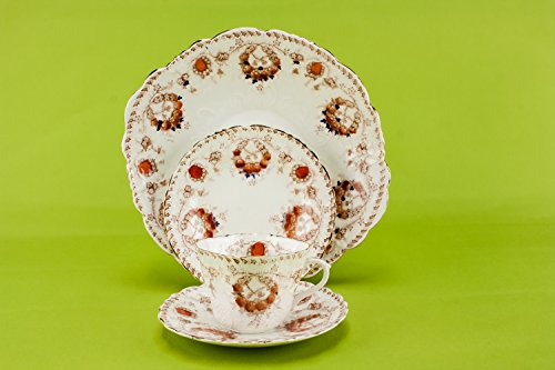 4 Persons Bone China Antique Cup Saucer Plate TEA SET J Goodwin Stoddard Co Flamboyant Art Nouveau English Circa 1900 LS