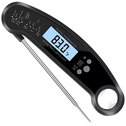 Instant Read Meat Thermometer, Waterproof Ultra Fast Digital Food Cooking Thermometer with Collapsible Long Probe, Backlight & Calibration for Kitchen BBQ Grill Smoker(black) ()