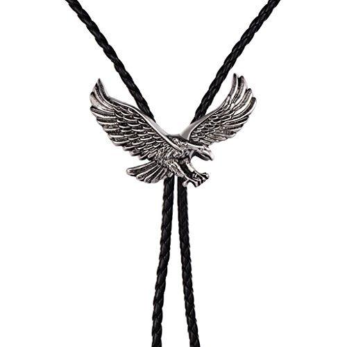 Alloy western cowboy Eagle bolo tie American (Silver) by HUABOLA CALYN (Image #4)