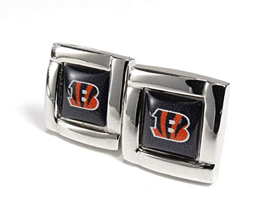 aminco NFL Cincinnati Bengals Womens NFL Sports Team Logo Square Cufflinks with Gift Box Set, Silver, One - Cufflinks Bengals