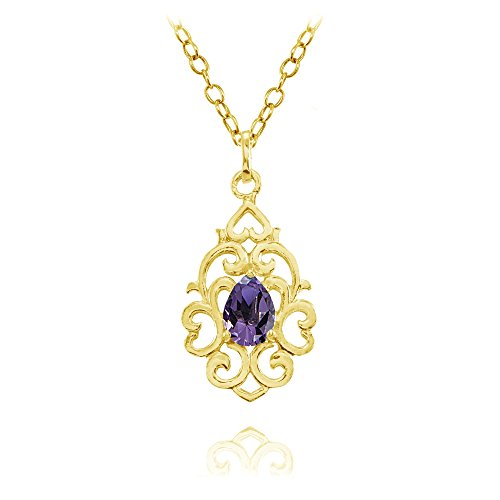 Yellow Gold Flashed Sterling Silver African Amethyst Filigree Heart Teardrop Necklace