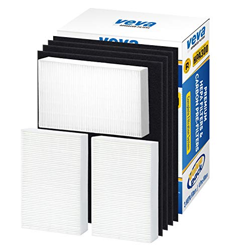 VEVA Premium HEPA Replacement Filter 3 Pack Including 4 Precut Activated Carbon Pre-Filters for HPA300 compatible with Honeywell Air Purifier 300 and Filter R