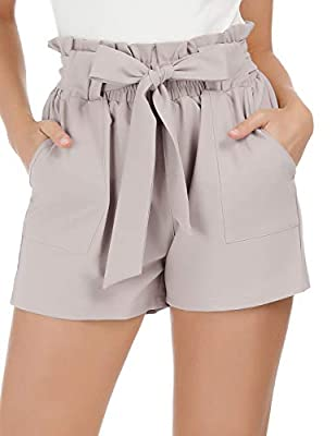 GRACE KARIN Women Bowknot Tie Waist Solid/Printed Summer Casual Shorts with Pockets