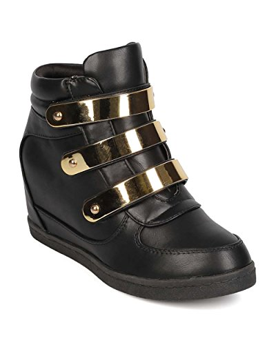 Round Hidden Sneaker Metallic Velcro Black Toe EH78 Leatherette Women Fahrenheit Wedge xqw7UT6cS