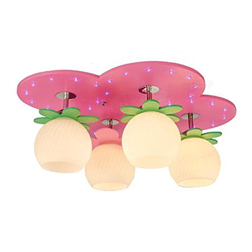 Pink LED Children's Ceiling lamp Working Girl Children's Room Creative Cartoon Lighting (Color : with Segmented Remote Control)