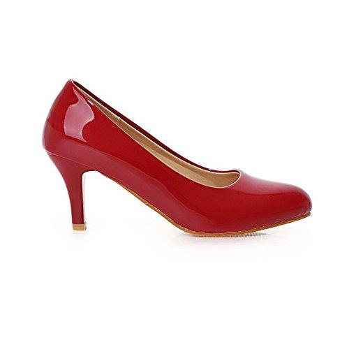 Amoonyfashion Vrouwen Lakleder Pull-on Puntige Dichte Neus Kitten-hakken Pumps-schoenen Rood