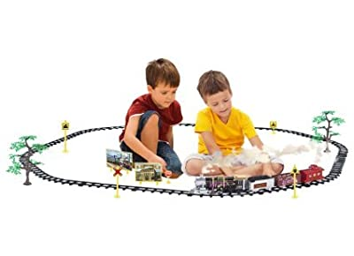 Ginzick Rc Remote Control Super Fun Electric Train Set with Lights Sounds Real Smoke Train Signs and Accessories by Ginzick