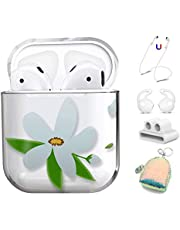AirPods Case Cover 5 in 1 for Apple AirPods 2 & 1, Cute Clear Full Protective Hard Cute Cases for Girls Floral Print for Apple Airpods 1 & 2 - Flamingo (Flowers-White)