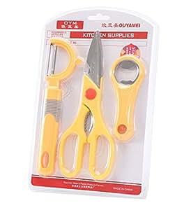 GAMT Multifunctional Scissors Peeler Opener 3PCS / Set Yellow