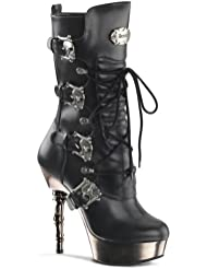 Demonia MUERTO-1026 5 1/2 Finger Bone Heel, 1 1/2 PF Lace Up Calf High Boot