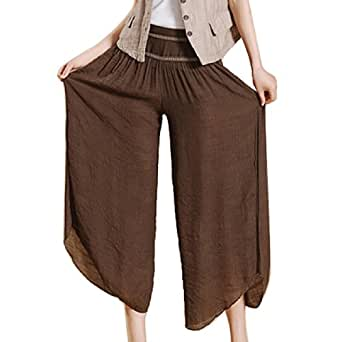 AUBIG Women's Casual Culottes Wide Leg Yoga Pants Palazzo Culottes - Coffee