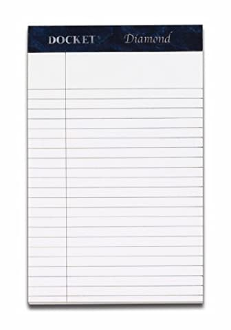 TOPS Docket Diamond 100% Recycled Premium Stationery Tablet, 5 x 8 Inches, Perforated, White, Narrow Rule, 50 Sheets per Pad, 4 Pads per Pack - Recycled Paper Pads