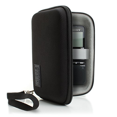 Protective Hard Shell Digital Voice Recorder Slim Case by USA Gear - Works With Dennov , Sony ICDUX560BLK , ICD-UX533BLK / ICDTX50 , Olympus DP-201 , VR-BK8 & More Compact Voice Recorders - Black