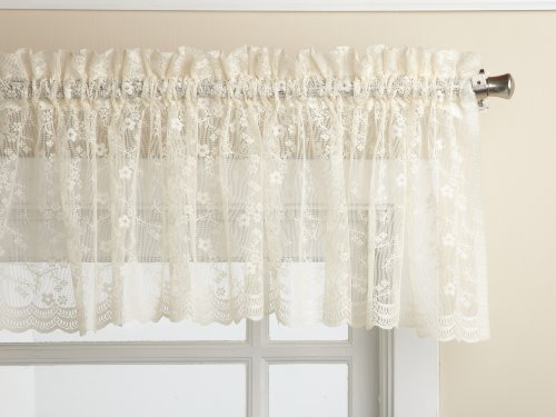 LORRAINE HOME FASHIONS Priscilla 60-inch x 12-inch Valance, Ivory - Ivory Lace Valance