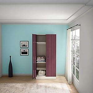 GODREJ INTERIO Slimline Fantasia 2 Door Steel Almirah with Locker in Dark Wood,Glossy Finish