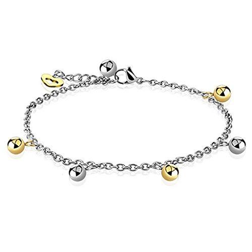 Bracelet , chaine de cheville bead avec cœur en acier inoxydable 316L