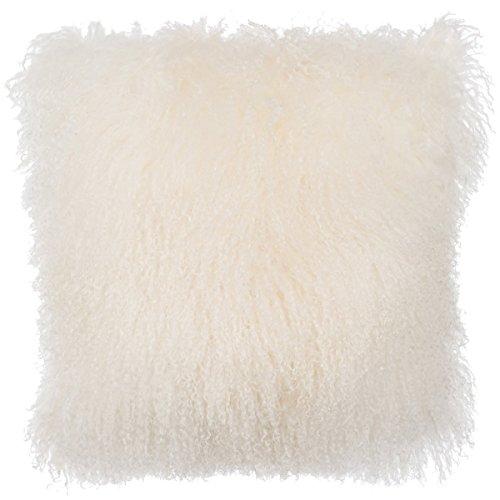 Slpr Home Collection Mongolian Lamb Fur Pillow Cover  20 X 20  Natural