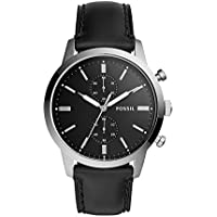 Fossil 44mm Townsman Chronograph Black Leather Watch