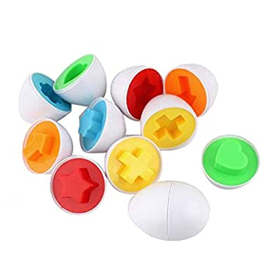LALANG 6 Eggs/Set Learning Education Classification Toys Mixed Shape Wise Pretend Puzzle Smart Puzzles Eggs Learning Kitchen Toys for Easter Gifts: Toys & Games