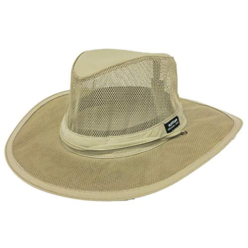 Panama Jack Men's Mesh Safari Hat Large Khaki ()
