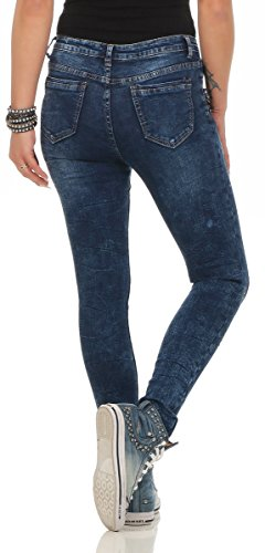 turquoise Turquoise 38 fonc bleu Femme Jeans Fashion4Young 4txSfgqw