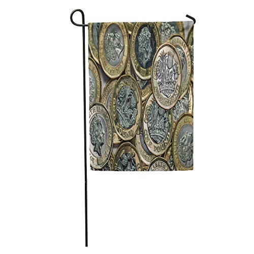 Semtomn Garden Flag Silver Currency New British Pound Coins Bank Banking Britain Cash Home Yard House Decor Barnner Outdoor Stand 12x18 Inches - Silver Coin Pence