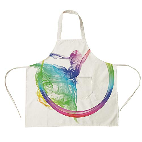 Housekeeping Smock (3D Printed Cotton Linen Big Pocket Apron,Abstract Home Decor,Smoke Dance Shape Silhouette of Dancer Ballerina Rainbow Colors Fantasy Decorative,for Cooking Baking Gardening)