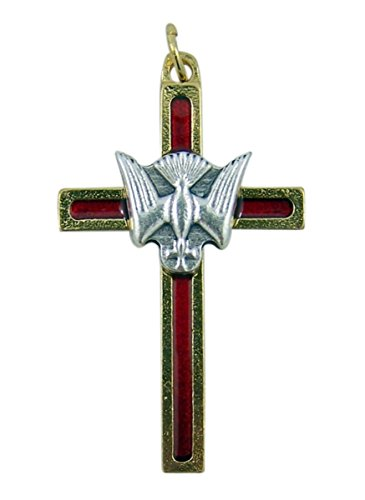 Gold and Silver Toned Red Enamel Confirmation Cross Pendant, 1 1/2 Inch