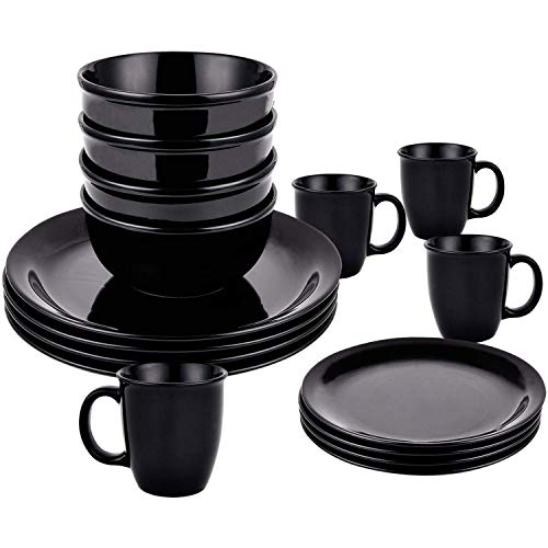 16 Piece Dishes Dinnerware Sets, Black Ceramic Dinnerware Set, Porcelain Dinnerware Sets Including Dinner Plates Dessert Plates Fruit Bowls and Mugs for Everyday Use, Service for 4 (And Bowl Set Plate Black)