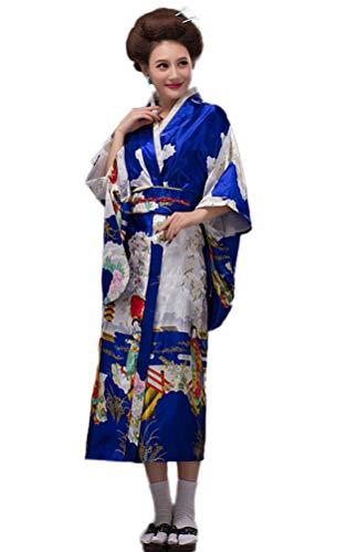 Soojun Women's Traditional Japanese Kimono Style Robe Yukata Costumes, Style3- Blue, US 2-10 ()