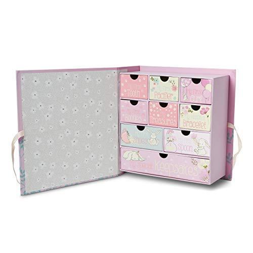 Tri-Coastal Design - Caja de Recuerdos - Una Caja para Recuerdos con 10 Cajones - Ideal como Regalo para Recién Nacido o para Usar como Joyero sobre el ...