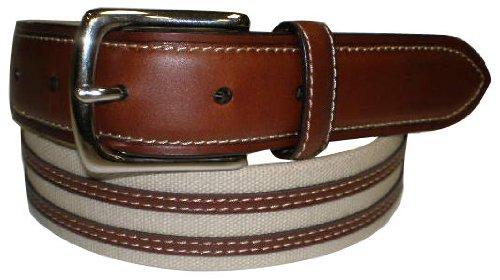 IZOD Tan Canvas & Leather Inlay Belt TAN 40