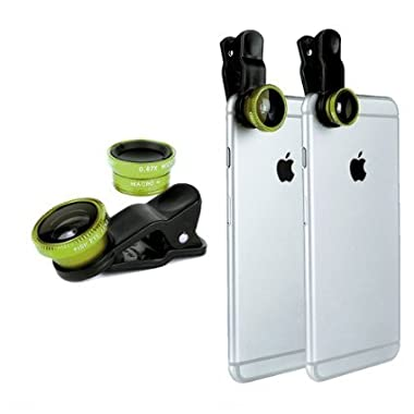 Green Universal Clip-on 180 degree 3 in 1 Fisheye+Wide Angle+Macro Camera Lens Kit for iPhone 5 5S 4 4S 6 Samsung Galaxy S5/S4/S3 Note 4/3/2 HTC Blackberry Bold Touch, Sony Xperia, Motorola Droid