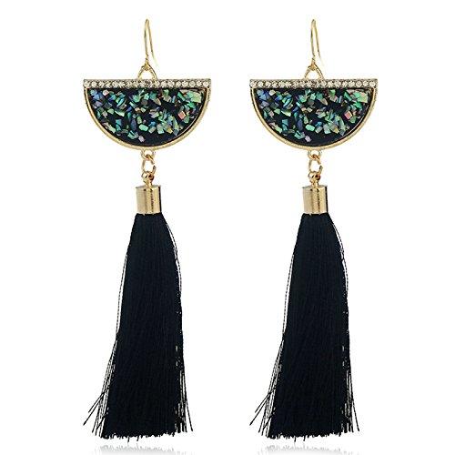 - Gnzoe Fashion Jewelry Simple Featured Design Semi-Circular Tassel Earrings for Womens Ladies Hood Earrings Black