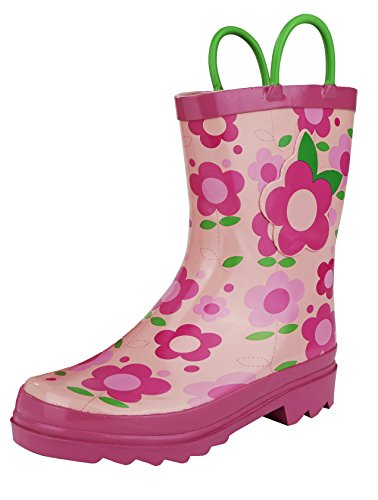 Little Girl's Pink Flower Rain Boots Sizes - Toddler - Little Kits (6 M US (Hot Girls Boots)