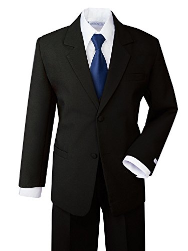 Spring Notion Boys' Formal Dress Suit Set 16 Black Suit Navy Tie Quality Boys Suits
