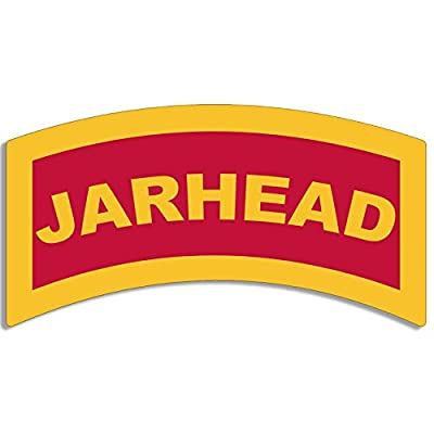 American Vinyl Red/Yellow Jarhead Tab Shaped Sticker (USMC Marine Military): Automotive