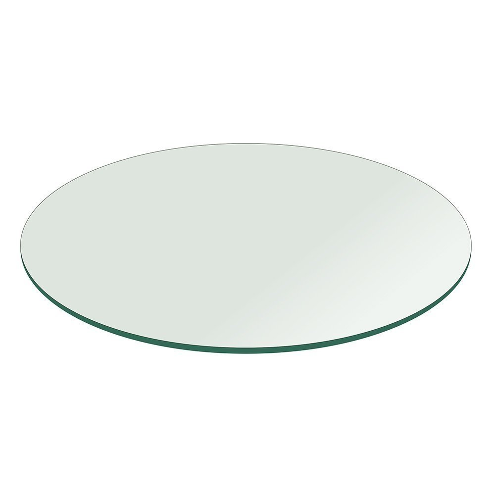 Milan 24'' Round Tempered Glass Top 1/2'' Thick with Flat Edge by MILAN