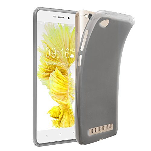 Xiaomi Redmi 4A Case + Screen Protector, Gzerma Soft Shock-Absorption Scratch Resistant TPU Durable Protective Cover and High Definition (HD) Clear, Bubble Free Phone Film for Xiaomi Redmi 4A, Gray
