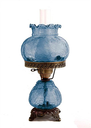 Crackle Hurricane Table Lamp w 8 in. Student Shade -