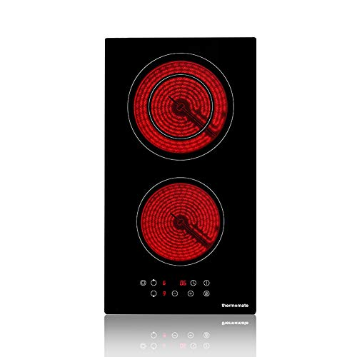 Electric Cooktop, thermomate 12 Inch Built-in Radiant Electric Stove Top, 240V Ceramic Electric Stove with 2 Burners, 9 Heating Level, Timer & Kid Safety Lock, Sensor Touch Control
