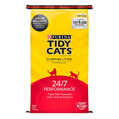Purina Tidy Cats Clumping Cat Litter, 24/7 Performance Multi Cat Litter – 40 lb. Bag