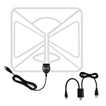 HDTV Antenna Indoor Pictek 50 Miles Digital Amplifier with Signal Booster 10 Feet Long Cable,White