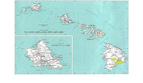 picture about Printable Map of Kauai identified as : Canvas Print Hawaii Country Map Maui Oahu Kauai