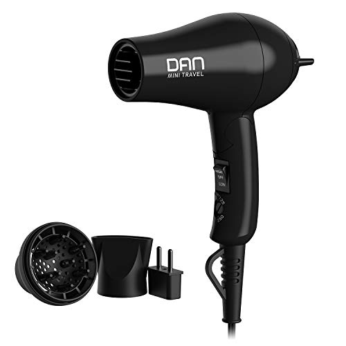 DAN Technology D29 Compact Travel Hair Dryer with Diffuser, Concentrator, Storage Bag, EU Plug Adapter and Folding Handle, 1200W Dual Voltage Hair Dryer, 125V-250V, ETL Certified