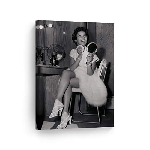 Dorothy Dandridge Make Up and Smile Black and White Wall Art Canvas Print Beautiful African American Icon Artwork Home Decor Wall Decor Stretched Ready to Hang-%100 Handmade in The USA - 12x8