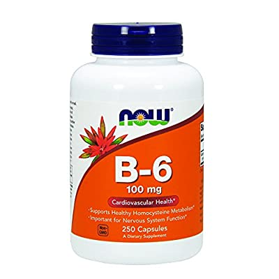 NOW Vitamin B-6 100 mg Capsules, 250 Count
